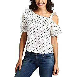 FAMILIZO Camisetas Mujer Verano Blusa Mujer Elegante Camisetas Mujer Manga Corta Algodón Aplique Camisetas Mujer Fiesta Lunares Corto Camisetas Sin Hombros Mujer Camisetas Mujer ❤️S~2XL (XL, Blanco)