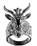 Anillo hombre cabra y estrella david símbolo oculto de satana color plata envejecida talla 13 diámetro 16,8