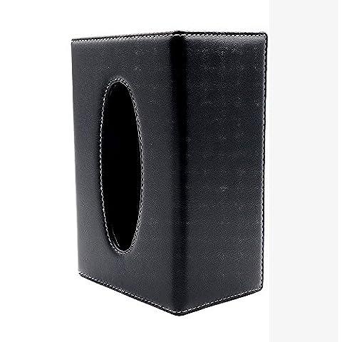 LOCEN Portable PU Leather Pumping Facial Tissue Holder - Black Rectangular Box