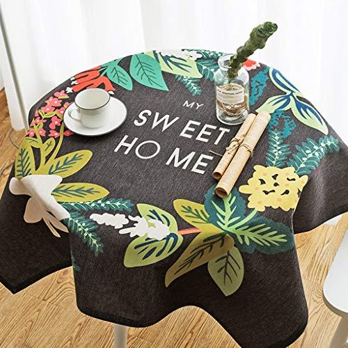 Nappe en lin coton pour table ronde recouverte de table carrée anti-poussière de style pastoral pour la décoration de dessus de table, fêtes d'intérieur ou d'extérieur, utilisation quotidienne