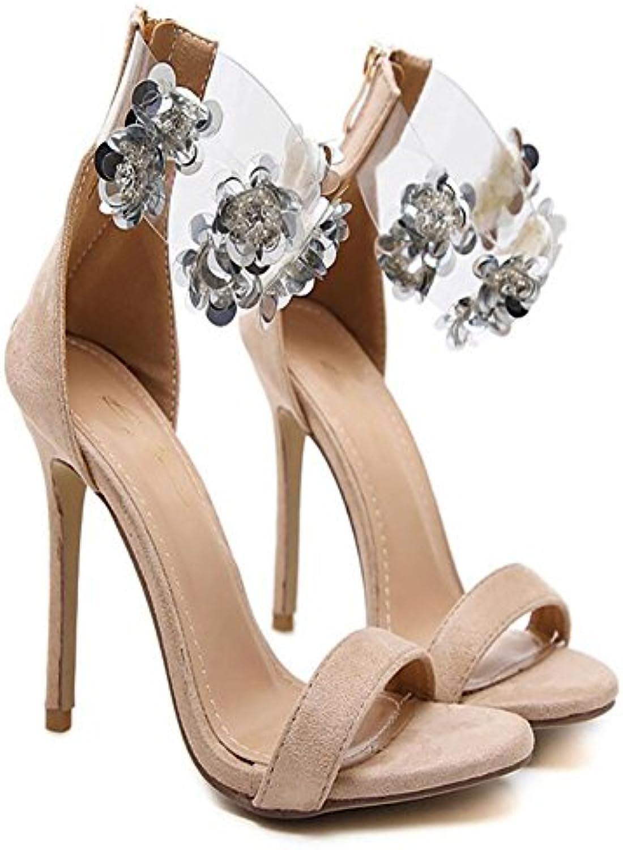 GAOLIXIA Ladies High Heels Summer New Luxury Perline Sandali Flower Crystal Scarpe col tacco alto Nero, Albicocca... | Liquidazione  | Uomini/Donna Scarpa