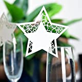 MagiDeal 50pcs Star Wine Glass Name Place Cards Wedding Christmas Decoration - White