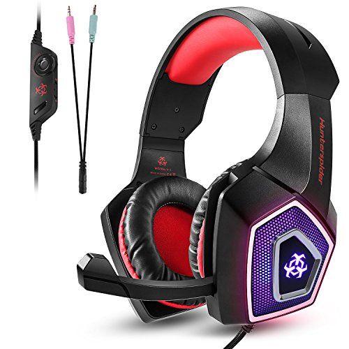 Auriculares gaming TENSWALL para PS4 o PC, serie Hunterspider, Cascos Gaming con cable y LED para PC, Auriculares de diadema con micrófono y puerto Jack de 3,5 mm. Cascos con sistema de control de volumen y cancelación de ruido compatible con Xbox One, Nintendo Switch, PC, Laptop, Tablet, Móvil, etc. (Negro/Rojo)