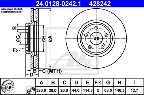 ATE 428242 Kit Freno, Set di 2
