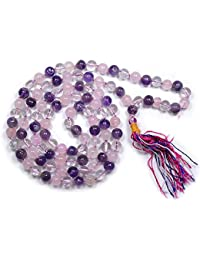 Reiki Crystal Products Multicolour Mala of Amethyst, Rose and Clear Quartz Natural Stone for Men and Women