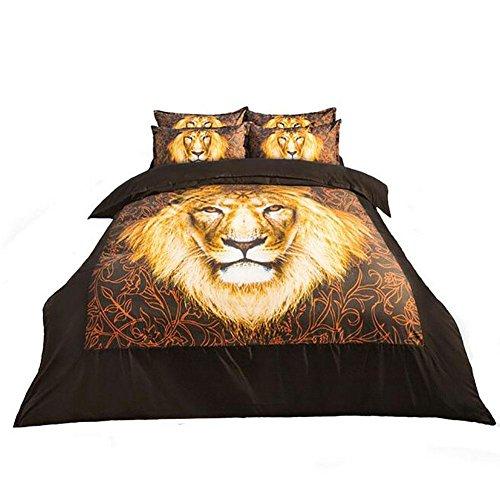 Preisvergleich Produktbild GZXCPC 3D Animal Digital Print Bettwäsche Set 4 Stück (1 Decke, 1 flache Bleche, 2 Kissen-Koffer) Löwe , 220*240cm