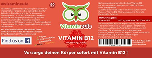Vitamin B12 Kapseln - Ohne künstliche Zusatzstoffe - vegan - Qualität aus Deutschland - 100% Zufriedenheitsgarantie - 1000µg hochwertiges Methylcobalamin - deutsche Laboranalytik - Vitamineule® - 4