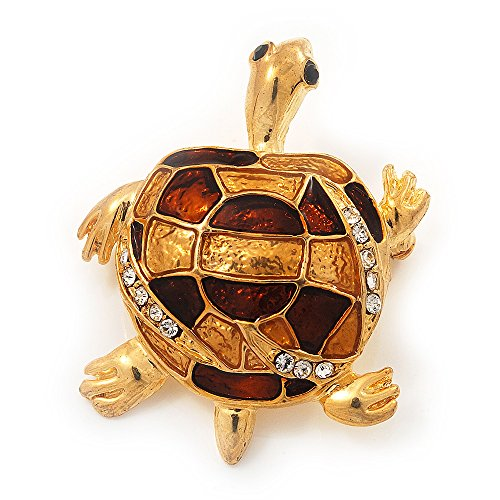 Placcato in oro, con spilla, motivo: tartaruga