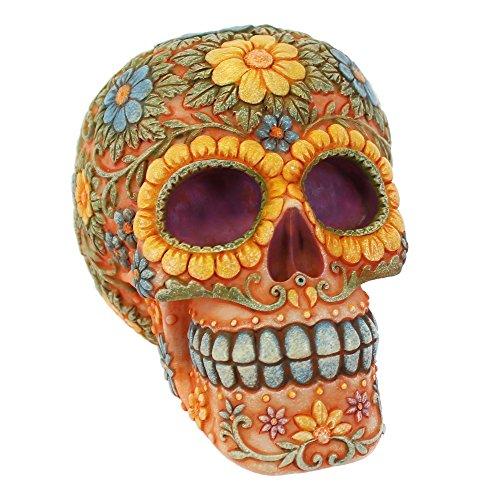 Naranja floral Candy Skull–Hucha