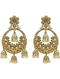 Kiyara Accessories Fashion Jewellery Traditional Gold Classic Floral Chandbali Jhumki Alloy Earring Set With Pearl...