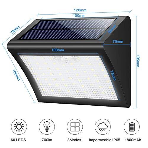 Yacikos Solarleuchten Außen 60 LED Solarlampe mit Bewegungsmelder Solar Wandleuchte Solarlicht Wasserdichte Solar Beleuchtung 3 Modi Solarbetriebene Kabelloses Sicherheitslicht für Gärten