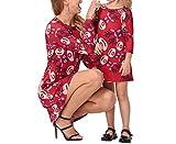 Swallowuk Damen Mädchen Langarm Elch Drunck Kleid Eltern Kind Kleid Weihnachten Dress Mode Mutter und Kinder Outfits (XL, Rot)