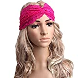 JaneDream Fashion Leisure Casco Decora la Fascia Twist Sport Yoga Pizzo Archetto Turbante Foulard Giallo Rose Red
