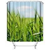 HUIYIYANG Benutzerdefinierte Duschvorhang, Sommer Landschaft Grünes Weizen Feld Wolken Design Wasserdichter Anti Mehltau Gewebe Polyester Duschvorhang für Badezimmer 48