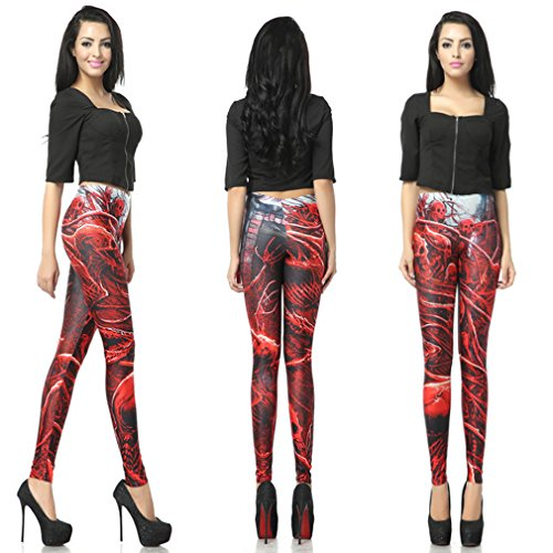 Thenice - Legging - Slim - Femme Taille unique (petite taille) Red Skull Bösewicht
