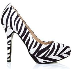 ShuWish UK , Damen Pumps Mehrfarbig Zebra Print