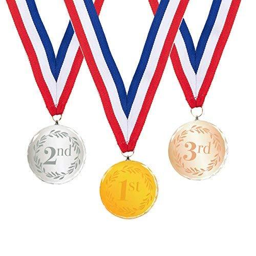 Juvale 3-teilig Award Medaillen Set-Olympischen Stil 1, 2, 3. Platz Kristall Medaillen für Sport, Wettbewerbe, Buchstabieren Bienen, Gold, Silber, Bronze, 6,9cm in Durchmesser mit 79cm Hals Band - Messe-medaille
