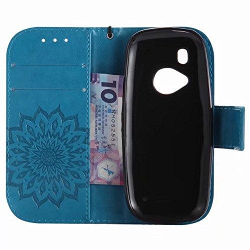 LEMORRY Nokia 3310 (2017) Custodia Pelle Cuoio Flip Portafoglio Borsa Sottile Bumper Protettivo Magnetico Morbido Silicone TPU Cover Custodia per Nokia 3310 (2017), Fiorire (Verde) Blu