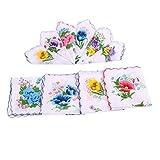Fenteer Frauen Blumen Taschentücher aus 100% Baumwolle Stofftaschentücher