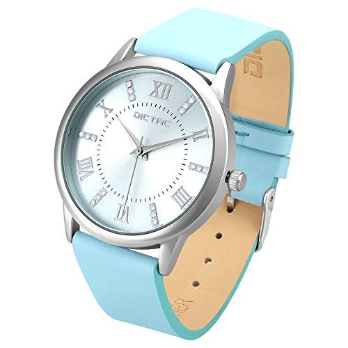 Dictac Legierung Armbanduhr mit Swarovski Kristall echtem Leder Armband japanischen Bewegung ROHS Zertifizierung 31 Meter wasserdichte elegante Uhr für Mädchen Damen bestes Geschenk