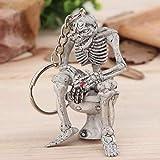 Dailyinshop Skelett auf Toilette Schlüsselanhänger Schlüsselanhänger Neuheit Geschenk Gummi / Metall Ring (Farbe: Schwarz)