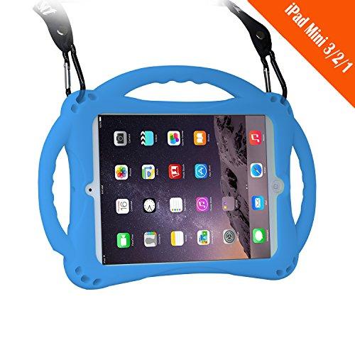 [Neues Design] TopEsct iPad Mini Case Kinder Anti-Shock Stoßfest Griff Ständer Schutzhülle für iPad Mini, Mini 2, Mini 3 und iPad Mini Retina Modelle (Blau)