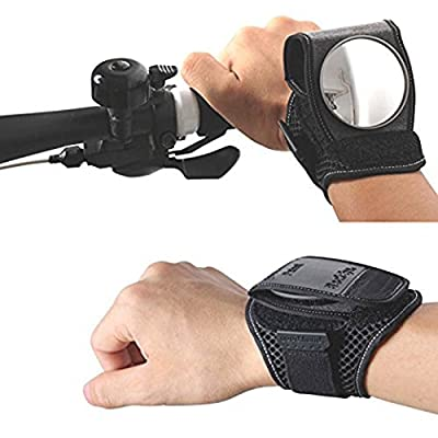Kunzite Black Cycling Back Rear View Mirror Retroreflector Wrist Guards Wristbands with Built-in Back Mirror Bicycle Viewfinder - inexpensive UK light shop.