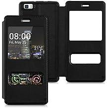 kwmobile Funda estilo Flip Case para Huawei P8 Lite (versión 2015) Funda protectora de piel sintética con tapa y ventanita en negro