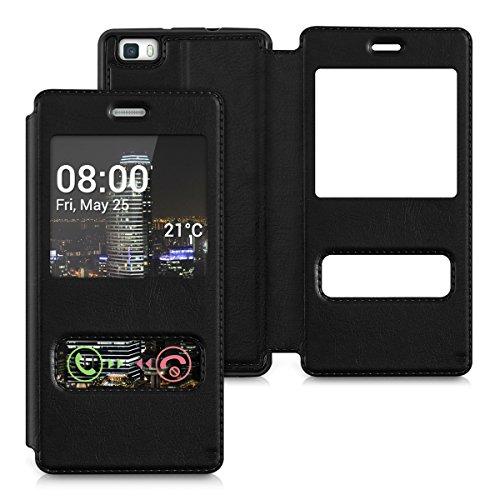 kwmobile Flip Case Hülle für Huawei P8 Lite (2015) Aufklappbare Kunstleder Schutzhülle mit Sichtfenster in Schwarz