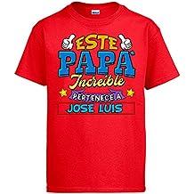 Diver Camisetas Camiseta Personalizable con Nombre Ejemplo Este Papá Increíble Pertenece a Pablo ...