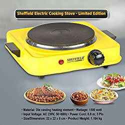 Sheffield Classic Electric Stove Hot Plate Cook-top 1500 watts SH-2001-Black (Yellow)