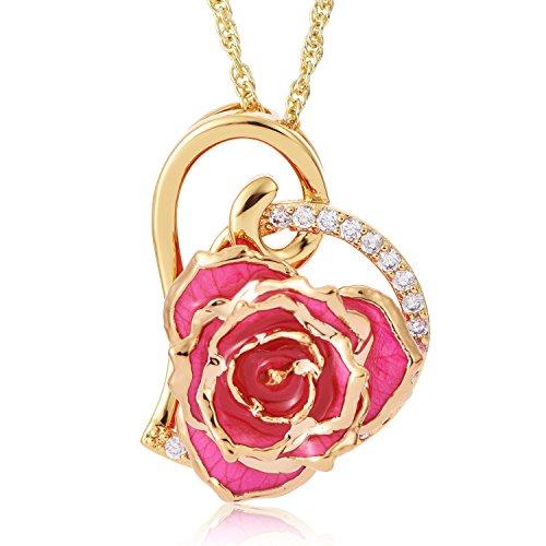 zjchao Collar en Forma corazón con Rosa eterna chapada de Oro de 24K con el Diamante de imitación Regalo Ideal para Las Mujeres (Rosa)
