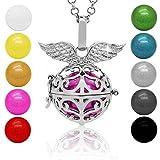 SoulCats® Klangkugel Kette Engel Rufer Ball Angel Anhänger Glöckchen Glücksbringer , Farbe:rot