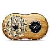 Tlgf Bluetooth-Lautsprecher, Tragbarer Drahtloser Retro-Holz Korn Lautsprecher, Bluetooth-Dual-Treiber-FM-Radio,Yellow