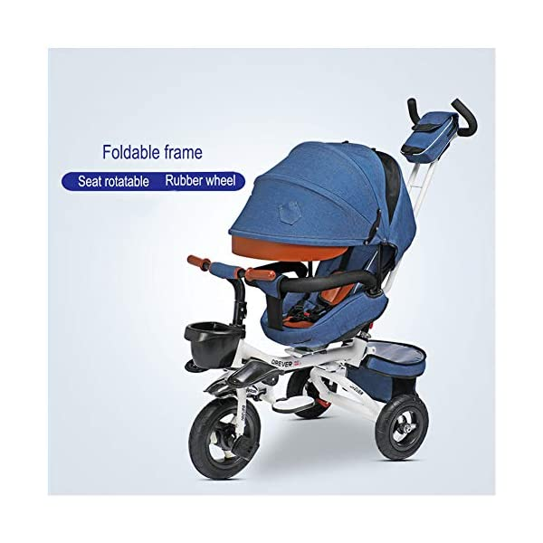 GSDZSY - Luxury 4 IN 1 Foldable Children Tricycle Stroller,360° Swivel Seat,With Detachable Push Rod And Awning,Seat And Handlebars Can Be Adjusted,Luxury Comfort Seat,18-60 Months,Blue_1A GSDZSY ❀ Material: High carbon steel + ABS + Rubber wheel, suitable for children from 1- 6 years old, maximum load 50 kg ❀ Features: The push rod can be adjusted heights; the seat can be rotated 360 to facilitate communication between mother and baby; adjustable parasol for different weather conditions ❀ Performance: high carbon steel frame, stronger and stronger bearing capacity; Rubber wheel is non-slip wearable suitable for all kinds of road conditions, seat is made of breathable fabric, baby ride is more comfortable 1