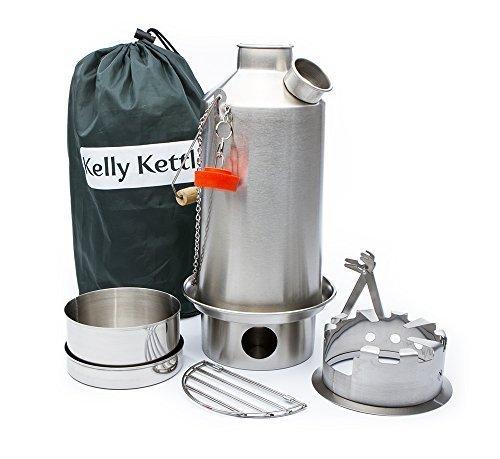 'Base Camp' 1.6ltr Kelly Kettle® + Landstreicher herdplatte + Kochset Set (alle edelstahl) zelten Wasserkessel und Camp Herdplatte in einem Ultra schnell leicht holz befeuert Herdplatte für solo oder gruppe - Kochen Wasserkocher