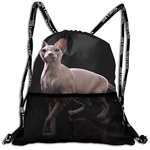 3D Print Leisure Bundle Backpack Cute Canadian Cat Pattern Portable Drawstring Bag Gym Bag Yoga Runner Daypack Polyester Shoe Bags