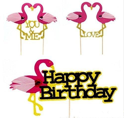 URChic 12Pcs Rose Flamingo YOU & ME LIEBE Insert Karte mit Zahnstocher Kuchen Dekoration Hochzeit Geburtstagsfeier Nette Geschenke Alles Gute zum Geburtstag Glitter Papier Kuchen Topper