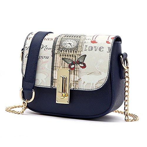 Sacchetto di estate coreano, zaino obliquo della spalla delle signore, mini borse di modo selvaggio, pacchetto della catena ( Colore : Nero ) Il blu scuro.