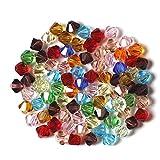 CESHUMD 200 Stück 4mm Facettierte Doppelkegel Kristall Glas Perlen Glasperlen Kügelchen für DIY Schmuck Halskette Armband Basteln (4mm)