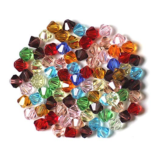 CESHUMD 200Unidades 4mm facettierte Doble Cono Cristal Perlas de Cristal Perlas de Cristal Bolitas para DIY Joyas Collar Pulsera Manualidades (4mm)