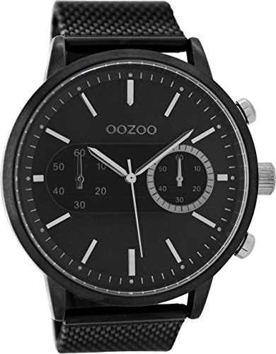 Oozoo Herrenuhr mit Metallband 49 MM Black/Schwarz/Schwarz C9074