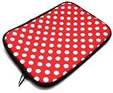 Emartbuy® Ninetec Platinum 7 G2 7 Zoll Tablet PC Polka Dots Rot / Weiß Wasserdicht Neopren weicher Reißverschluss Kasten Hülsen Abdeckungs ( 7 Zoll eReader / Tablet / Netbook )