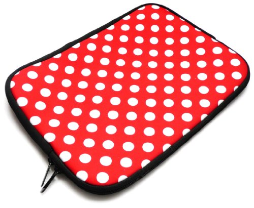 Emartbuy® AlpenTab 7 Zoll Tablet PC Polka Dots Rot / Weiß Wasserdicht Neopren weicher Reißverschluss-Kasten-Abdeckungs-Hülsen ( 7 Zoll eReader / Tablet / Netbook )