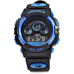 Leopard Shop HOSKA H001B Children Sports Wristwatch LED Digital Watch Day Chronograph Water Resistance Blue Black