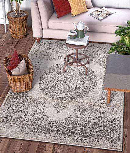 Well Woven Franzesca Medallion Teppich, traditionell, Vintage, persisch, florales Design, elfenbeinfarben Modern 5'3
