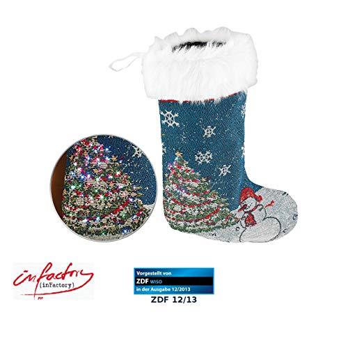 infactory Nikolausstiefel: Leuchtender Geschenke-Strumpf für Nikolaus & Weihnacht, über 100 LEDs (Nikolausstrumpf)