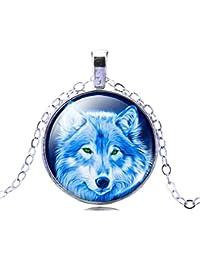 Jiayiqi Femmes Wolf Cool Couleur Argent Pendentif Chaîne Verre Temps Gemme État Collier Cadeaux