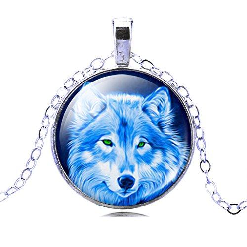 Frauen Wilde Beängstigend Wolf Anhänger Halskette Halbmond Mond Zeit Edelstein (Beängstigend Anzug)