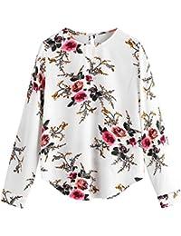 VJGOAL Mujeres Otoño Casual Moda Gasa O-Cuello Dulce Estampado de Flores de Manga Larga Camiseta Top Blusa